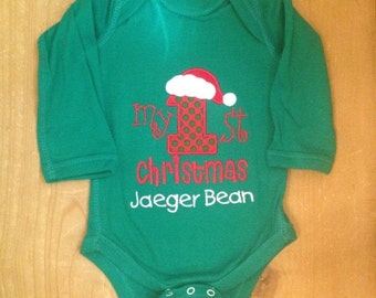 Green, Red, and White My 1st Christmas Embroidered Baby Bodysuit or Shirt