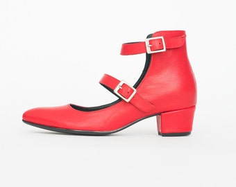 Red pumps, Mary Jane pumps, Women shoes, Pointy shoes, Low heel shoes, Leather pumps, Red heels women pumps shoes, Red leather shoes