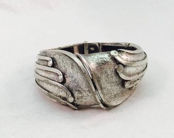 Vintage Signed Tortolani Art Deco Hinge Bracelet Bangle