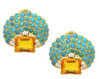 18k Gold Turquoise Citrine Earrings
