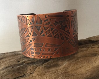Etched Copper Bracelet/Cuff