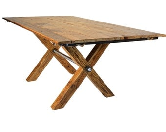 Reclaimed Industrial Table with Extensions