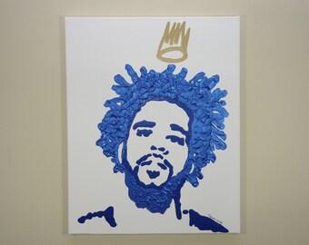 J.Cole Crown Painting (16x20) Hip Hop Art, Pop Art, Gold Crown