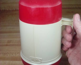 Vintage 70s King Seeley Thermos, Model 6002, Red & Tan, Retro Camping, Retro Thermos, Vintage Thermos, Made in USA