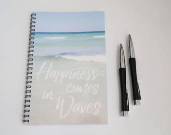 Ocean Notebook, Blank Paper Journal, Wire Bound Journal, Waves Notebook, Summer Diary, Beach notebook, Handmade Journal, Custom Notebook