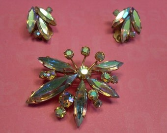 Costume Vintage Rhinestone Brooch with Matching Clip-On Earrings