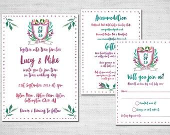 Printable Wedding Invitation - Colourful Watercolour emblem