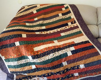 Fall Strips Throw Quilt, Moda Fabrics in Autumn Colors, Graduation Gift, Dorm Quilt, Couch Quilt, Cabin Decor, Quiltsy handmade