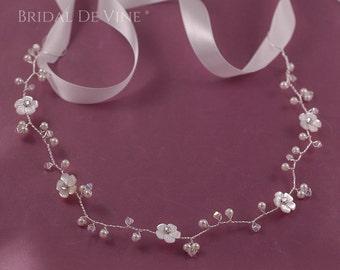 Beautiful Bridal Forehead Headband - Hair Vine Ivory, Crystals &  Flowers - Boho  UK