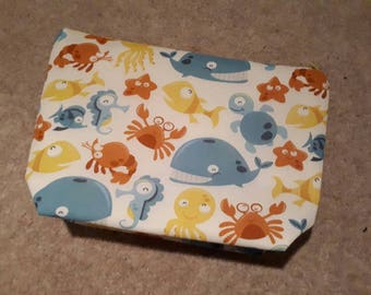 Handmade under the sea makeup bag made to order