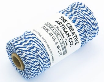 Dark Blue & White 12 Ply 2 Tone Bakers Twine//String//Cord//Cotton//5 Meters//10 Meters//20 Meters//Gift Wrap//DIY//Decoration//Crafts