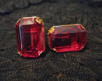 Vintage Miriam Haskell Ruby Red Earrings-Statement-Stunning!