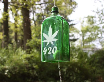 Pot Leaf Wind Chime, 420 Wind Chime, Upcycled Jagermeister Bottle Wind Chime, Sand Etched Image, House Warming Gift
