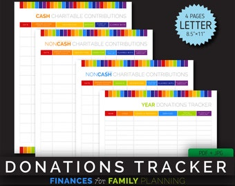 Donation tracker etsy annual donations tracker planner debt tracker financial family planner binder organizer template sciox Choice Image