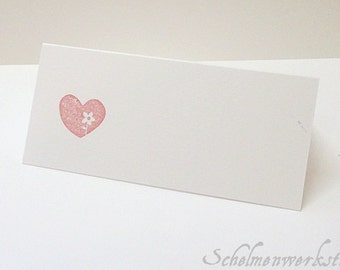 Place card with stamped heart (5 PCs)