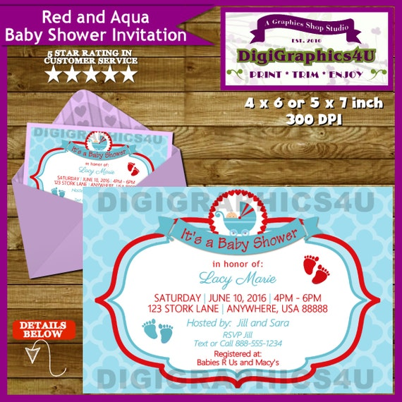 gender neutral baby shower invitation red and aqua printable
