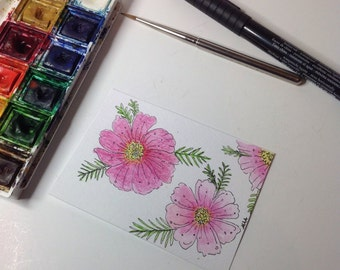 Flower Painting, Pink Cosmos Painting,Floral painting, Aceo Flower Painting, Original Watercolour, Mini Flower Art.