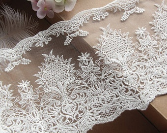 """1 Yard Cream White Cotton Tulle Lace Aulic Embroidered Trim For DIY Supply 5.11"""" width"""