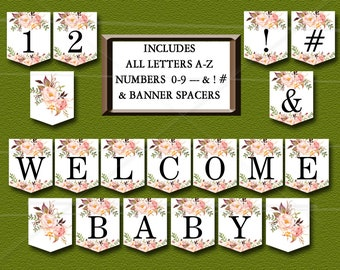 Floral Baby Shower Banner, Peach Floral Boho Baby Shower Printable - ALL LETTERS A-Z, Numbers 0-9, Spacers & symbols - Instant Download  021