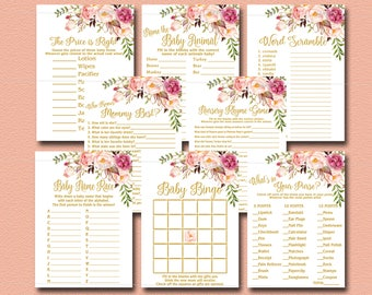 Peach Floral Baby Shower Games Package, 8 Games Pack, Pink, Gold boho Baby Shower Activity Bingo, Purse, Nursery Rhyme Instant Download 029
