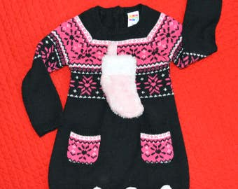24 month, Baby Ugly Christmas Sweater Dress, 2t, girl, sweater dress