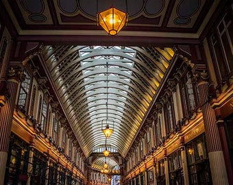 London Photography, Harry Potter's Diagon Alley, Leadenhall Market, Leaky Cauldron, London Print, Purple, Orange