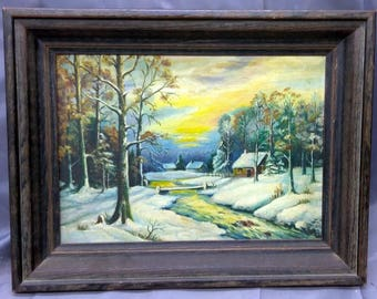 Old Antique Framed Oil Painting Winter Landscape Snow House Trees American Art