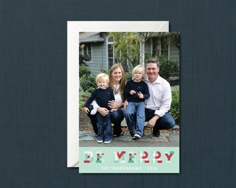 Be Merry Plaid Christmas Photo Card // DIY PRINTABLE 5x7 File // Christmas Card, Holiday Card, Personalized Christmas Card, Photo Card