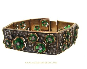 Plique A Jour floral diamond and enamel bracelet