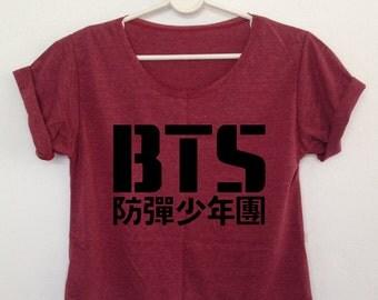 BTS Crop shirt women Bangtan boys korean K POP clothing graphic tee