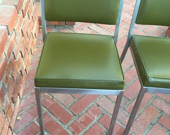 Vintage InterRoyal Steel Side Chair with Green Vinyl Upholstery