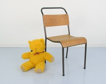 Vintage 1950s Du-Al by Dare-Inglis Wood and Steel Stacking Chair