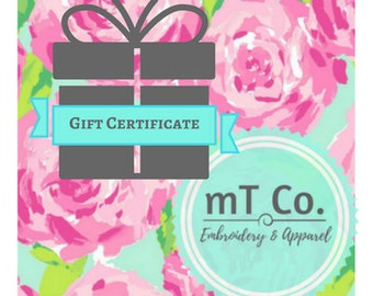 Gift Certificates for mT Co.