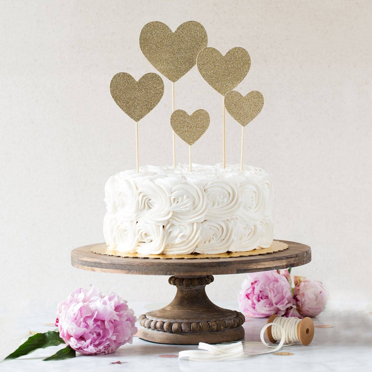 Gold Wedding Cake Decorations: Glitter Gold Heart Cake Picks -Wedding Cake Decorations