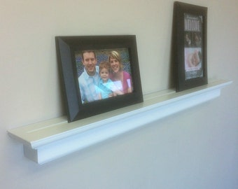 """Picture Ledge Shelves w/ deep groove for picture frames, White floating shelf, 30"""" & 24"""" x 2.5"""" White Semi-gloss pictured, Select options"""