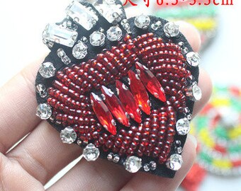 Sweet heart  beaded sequined applique patch sew on patch embroidered