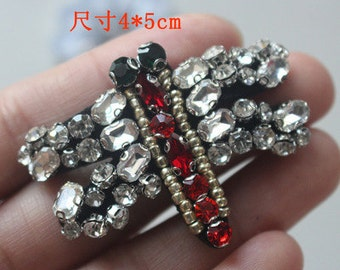 Dragonfly vintage Rhinestone applique clothing decoration patch