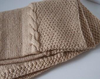 Hand Knit Baby Blanket, Camel Brown Blanket, Knit Blanket Baby, Camel Blanket Baby Boy, Camel Blanket Baby Girl