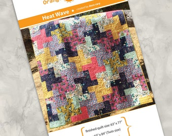 "Printed quilt pattern - ""Heat Wave"" - color instructions, only 5 yards of fabric for up to a Twin size quilt, modern design, easy and fun"