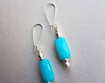 Sky blue faceted jade earrings-silver and blue faceted stone earrings-jade earrings-blue gemstone earrings-blue dangle earrings-silver
