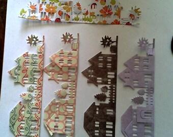 Paper houses die-cut shapes