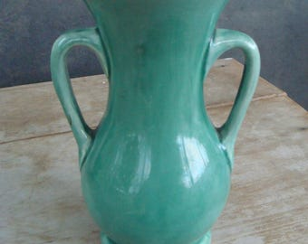 Vintage McCoy Art Pottery Vase With Light Jade Green Glaze And Handles Real McCoy American Pottery Signed USA And Numbered 710