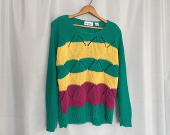Green Sweater Yellow Purple Stripe Cable Knit Vintage College Town Women's Medium