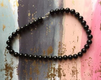 Black Necklace Glass Beads Vintage Jewelry