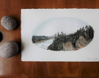 Original Watercolor and Ink Landscape Painting - Illustration, Oklahoma, River, Wanderlust