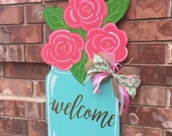Spring Door Hanger, Floral Door Hanger, Mason Jar Door Hanger, Welcome Door Hanger, Summer Door Hanger, Spring Wreath, Floral Wreath