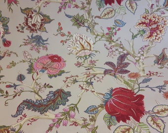 "Toile Floral fabric 54"" wide; Ceylan print fabric"