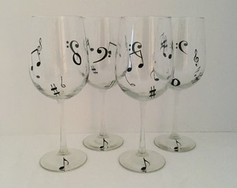Music, Hand Painted, Wine Glass