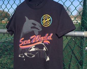 Vintage 1991 Sea World Tee Shirt Medium Sherry's Best Black Shamu Animal