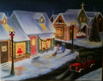 "Christmas Painting   ""Christmas on the City """